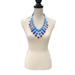 J.Crew Blue Bauble Cascade Necklace